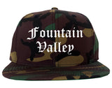 Fountain Valley California CA Old English Mens Snapback Hat Army Camo