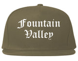Fountain Valley California CA Old English Mens Snapback Hat Grey