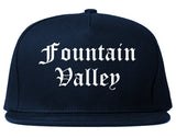 Fountain Valley California CA Old English Mens Snapback Hat Navy Blue