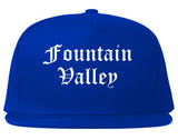 Fountain Valley California CA Old English Mens Snapback Hat Royal Blue