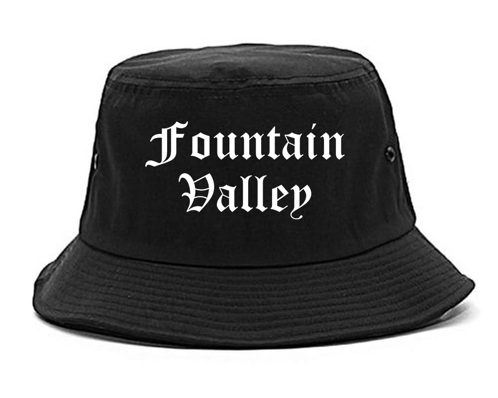 Fountain Valley California CA Old English Mens Bucket Hat Black