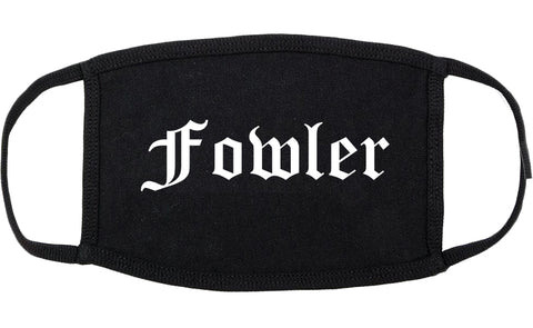 Fowler California CA Old English Cotton Face Mask Black