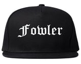 Fowler California CA Old English Mens Snapback Hat Black