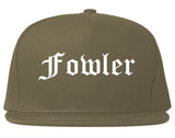 Fowler California CA Old English Mens Snapback Hat Grey