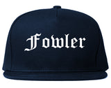 Fowler California CA Old English Mens Snapback Hat Navy Blue