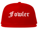 Fowler California CA Old English Mens Snapback Hat Red