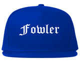 Fowler California CA Old English Mens Snapback Hat Royal Blue