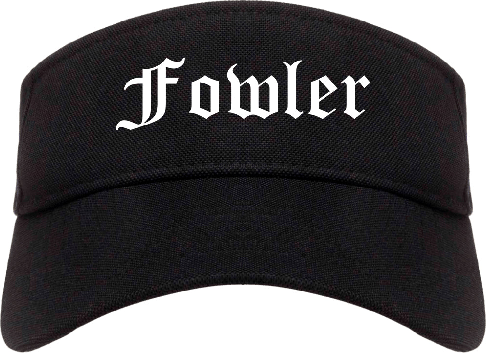 Fowler California CA Old English Mens Visor Cap Hat Black