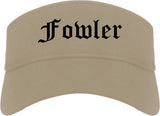 Fowler California CA Old English Mens Visor Cap Hat Khaki