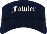 Fowler California CA Old English Mens Visor Cap Hat Navy Blue