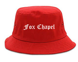 Fox Chapel Pennsylvania PA Old English Mens Bucket Hat Red