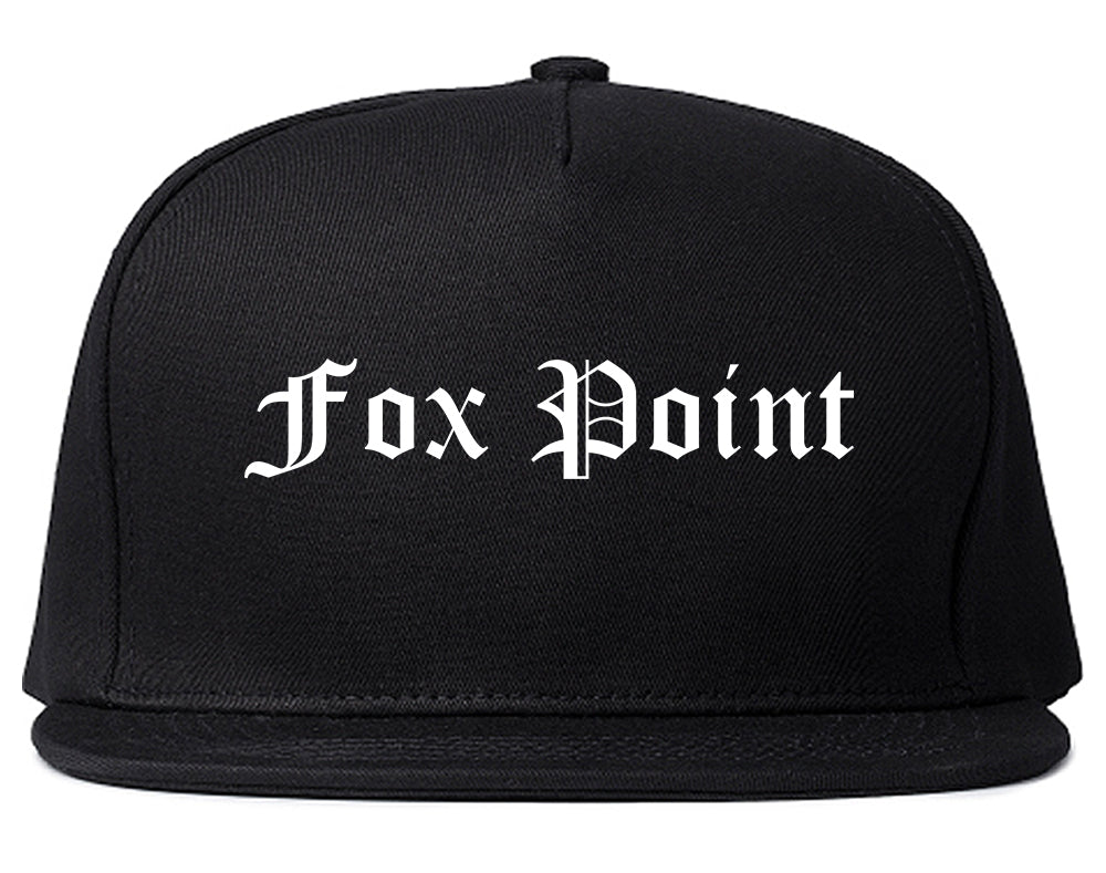 Fox Point Wisconsin WI Old English Mens Snapback Hat Black