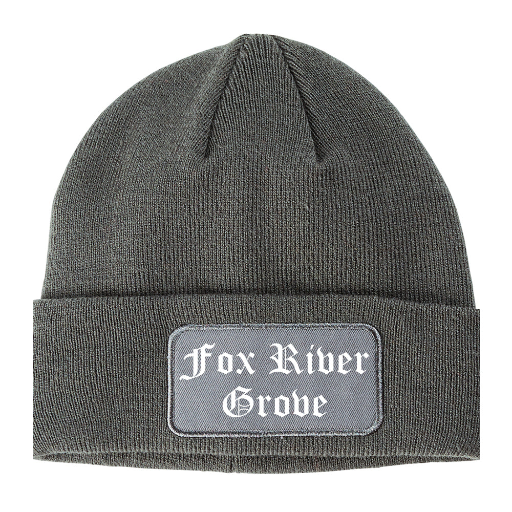Fox River Grove Illinois IL Old English Mens Knit Beanie Hat Cap Grey