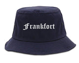 Frankfort Indiana IN Old English Mens Bucket Hat Navy Blue
