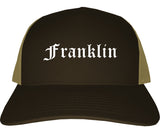 Franklin Indiana IN Old English Mens Trucker Hat Cap Brown
