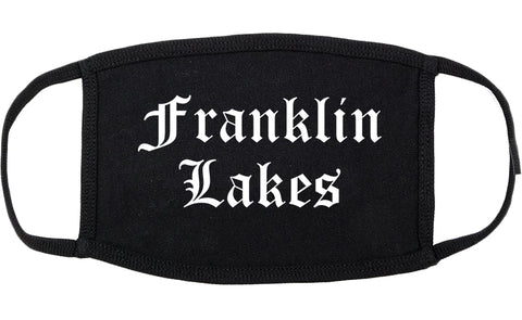 Franklin Lakes New Jersey NJ Old English Cotton Face Mask Black