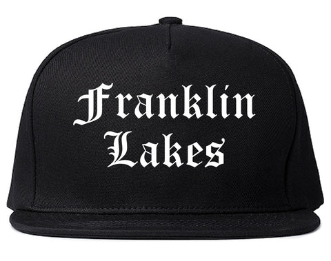 Franklin Lakes New Jersey NJ Old English Mens Snapback Hat Black