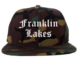 Franklin Lakes New Jersey NJ Old English Mens Snapback Hat Army Camo