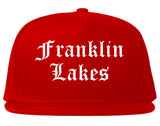 Franklin Lakes New Jersey NJ Old English Mens Snapback Hat Red