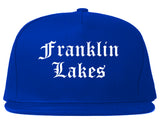 Franklin Lakes New Jersey NJ Old English Mens Snapback Hat Royal Blue