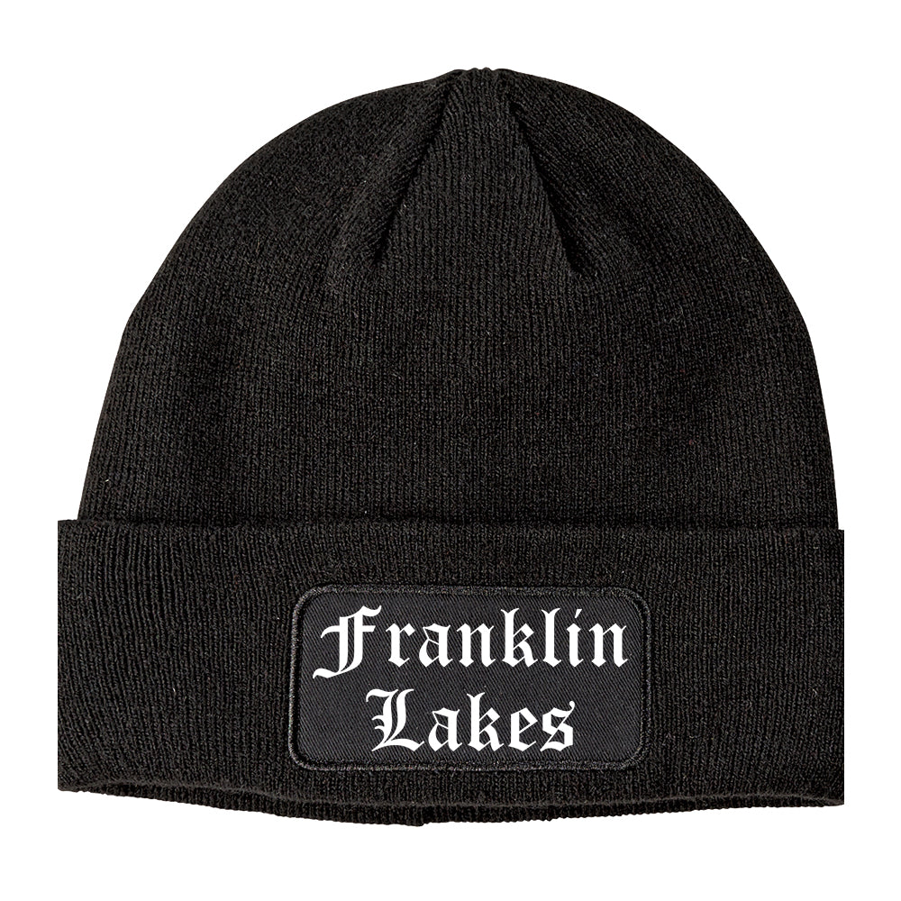 Franklin Lakes New Jersey NJ Old English Mens Knit Beanie Hat Cap Black