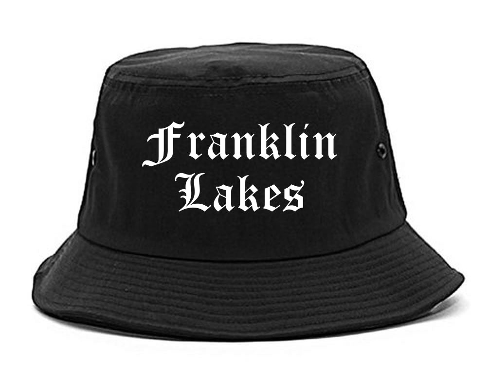 Franklin Lakes New Jersey NJ Old English Mens Bucket Hat Black