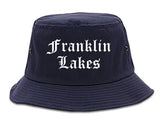 Franklin Lakes New Jersey NJ Old English Mens Bucket Hat Navy Blue