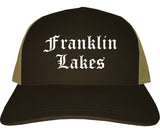 Franklin Lakes New Jersey NJ Old English Mens Trucker Hat Cap Brown