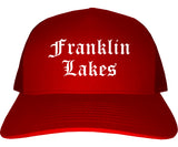 Franklin Lakes New Jersey NJ Old English Mens Trucker Hat Cap Red