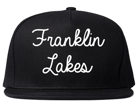 Franklin Lakes New Jersey NJ Script Mens Snapback Hat Black