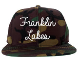 Franklin Lakes New Jersey NJ Script Mens Snapback Hat Army Camo