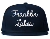 Franklin Lakes New Jersey NJ Script Mens Snapback Hat Navy Blue