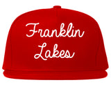 Franklin Lakes New Jersey NJ Script Mens Snapback Hat Red