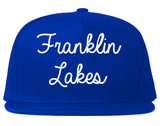 Franklin Lakes New Jersey NJ Script Mens Snapback Hat Royal Blue