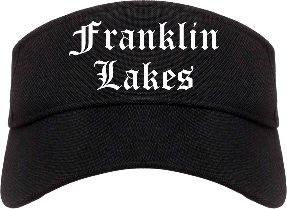 Franklin Lakes New Jersey NJ Old English Mens Visor Cap Hat Black
