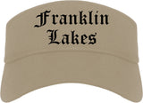Franklin Lakes New Jersey NJ Old English Mens Visor Cap Hat Khaki