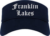 Franklin Lakes New Jersey NJ Old English Mens Visor Cap Hat Navy Blue