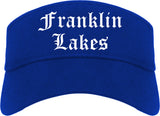 Franklin Lakes New Jersey NJ Old English Mens Visor Cap Hat Royal Blue