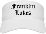 Franklin Lakes New Jersey NJ Old English Mens Visor Cap Hat White