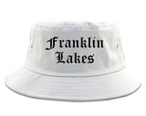 Franklin Lakes New Jersey NJ Old English Mens Bucket Hat White