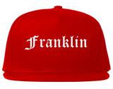Franklin Massachusetts MA Old English Mens Snapback Hat Red