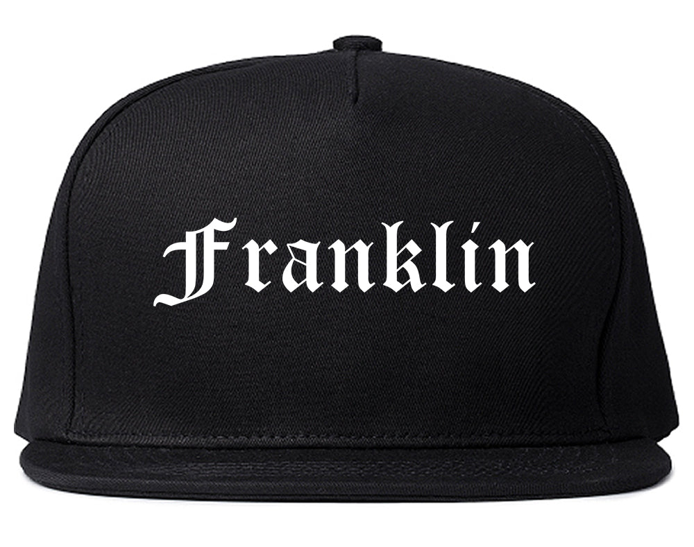 Franklin Wisconsin WI Old English Mens Snapback Hat Black