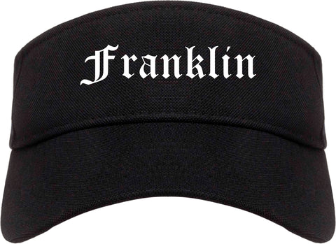 Franklin Wisconsin WI Old English Mens Visor Cap Hat Black