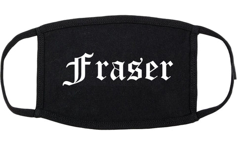 Fraser Michigan MI Old English Cotton Face Mask Black