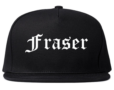 Fraser Michigan MI Old English Mens Snapback Hat Black