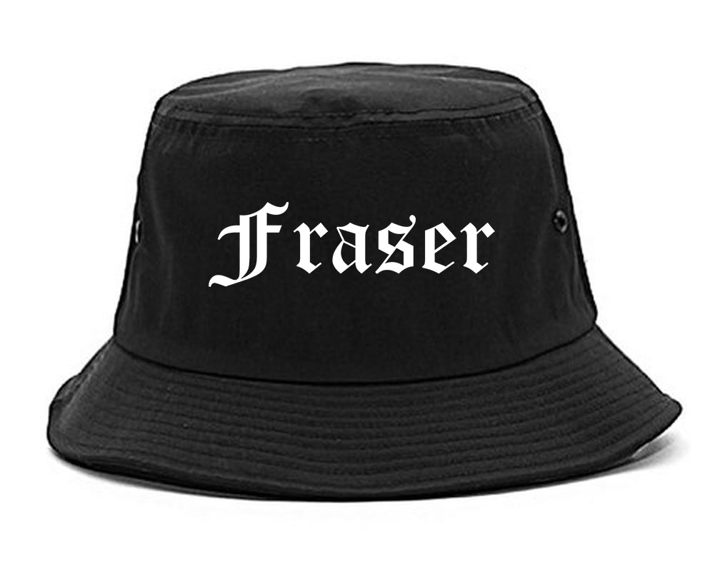 Fraser Michigan MI Old English Mens Bucket Hat Black
