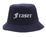 Fraser Michigan MI Old English Mens Bucket Hat Navy Blue