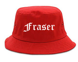 Fraser Michigan MI Old English Mens Bucket Hat Red