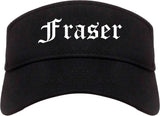 Fraser Michigan MI Old English Mens Visor Cap Hat Black