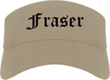 Fraser Michigan MI Old English Mens Visor Cap Hat Khaki